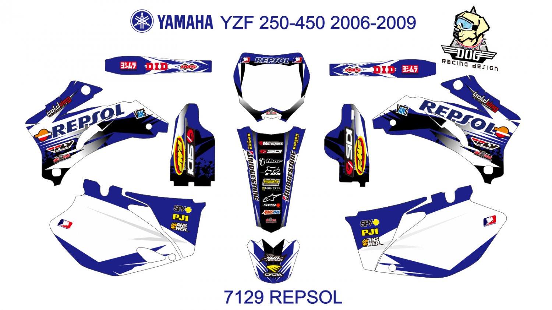 YAMAHA YZF 250-450 2006-2009 GRAPHIC DECAL KIT CODE.7129