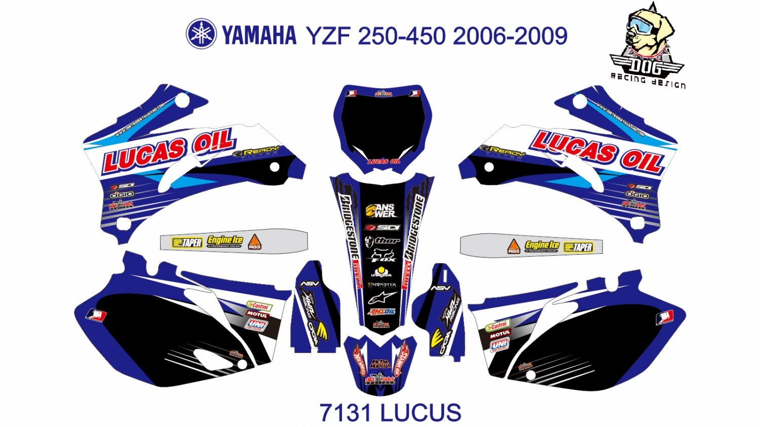 YAMAHA YZF 250-450 2006-2009 GRAPHIC DECAL KIT CODE.7131
