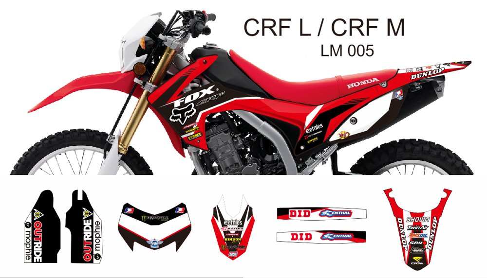 HONDA CRF L CRF M 2013-2014 GRAPHIC DECAL KIT CODE.LM 005