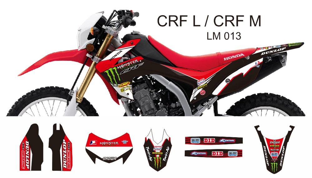 HONDA CRF L CRF M 2013-2014 GRAPHIC DECAL KIT CODE.LM 013