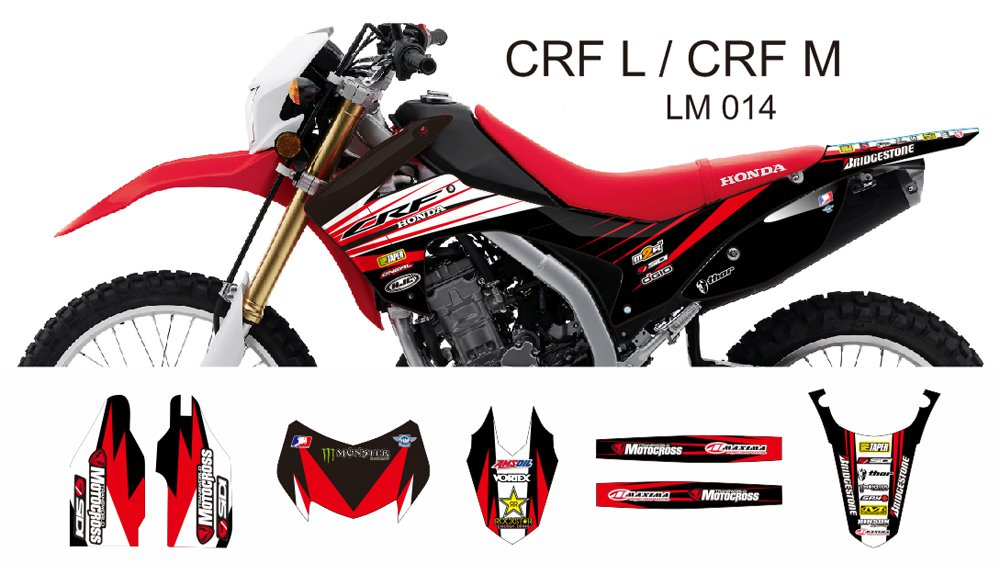 HONDA CRF L CRF M 2013-2014 GRAPHIC DECAL KIT CODE.LM 014