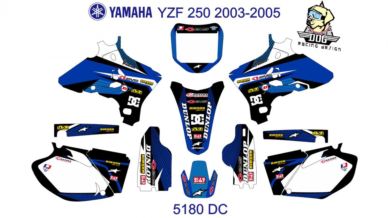 YAMAHA YZF 250 2003-2005 GRAPHIC DECAL KIT CODE.5180