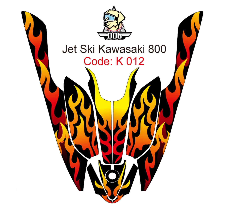 KAWASAKI 800 JET SKI GRAPHIC DECAL KIT CODE.K 012