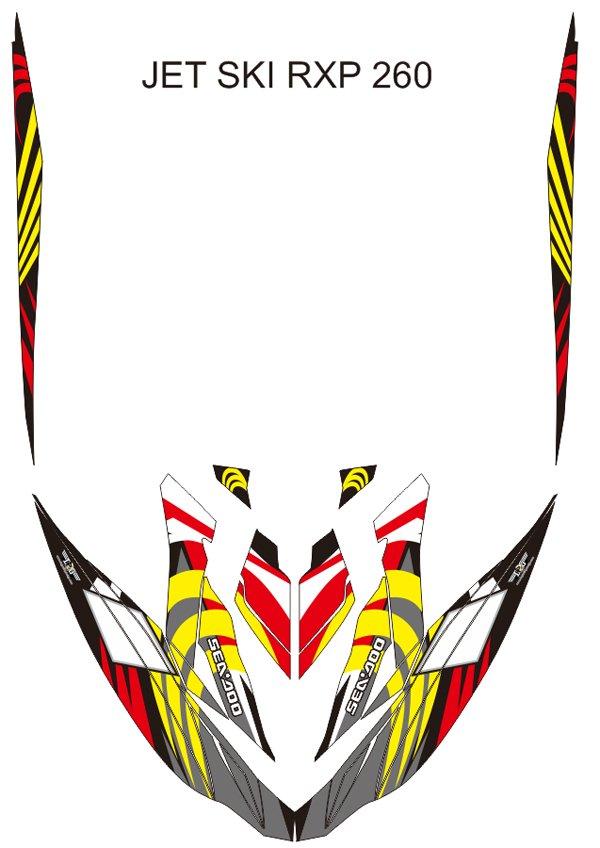 SEADOO RXP 260 JET SKI GRAPHIC DECAL KIT CODE.RXP 002