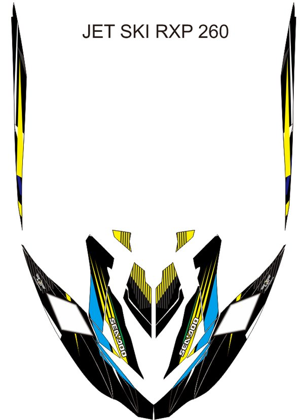 SEADOO RXP 260 JET SKI GRAPHIC DECAL KIT CODE.RXP 004