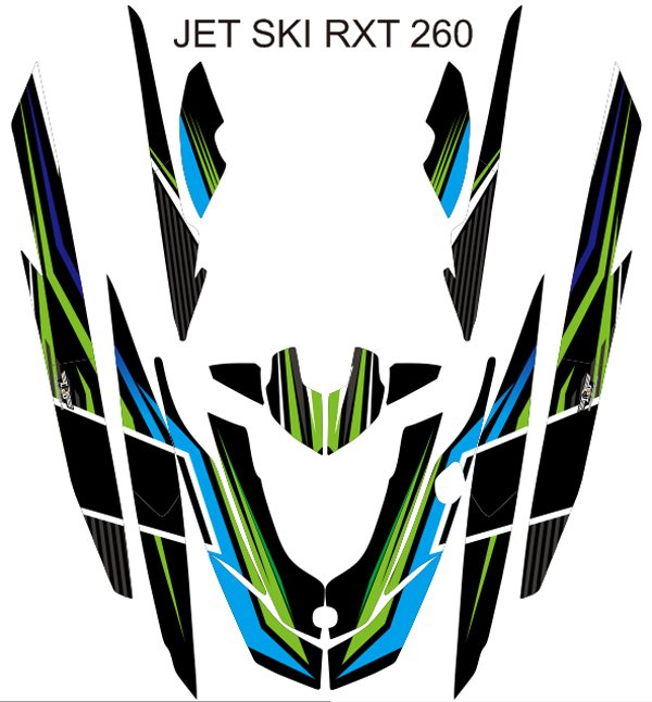 SEADOO RXT 260 JET SKI GRAPHIC DECAL KIT CODE.RXT 002