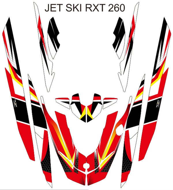 SEADOO RXT 260 JET SKI GRAPHIC DECAL KIT CODE.RXT 004