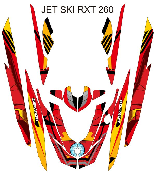 SEADOO RXT 260 JET SKI GRAPHIC DECAL KIT CODE.RXT 009