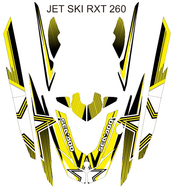 SEADOO RXT 260 JET SKI GRAPHIC DECAL KIT CODE.RXT 015