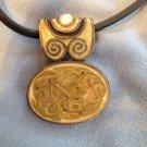 Vintage Costume Modernist  Enamel Swirl Necklace