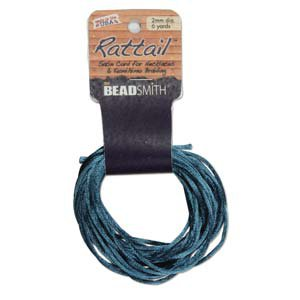 2mm Rattail Cord, Teal, 6yds