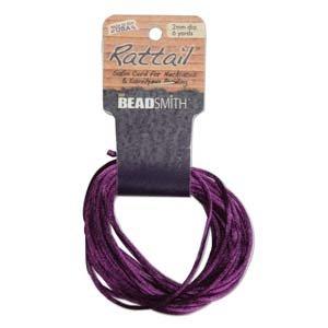 2mm Rattail Cord, Purple, 6yds