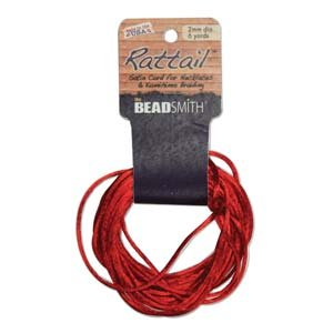 2mm Rattail Cord, Red, 6yds