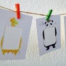 Free shipping! Mini Animal Painted Paper Photo Frame Set- wooden pegs & jute twine set