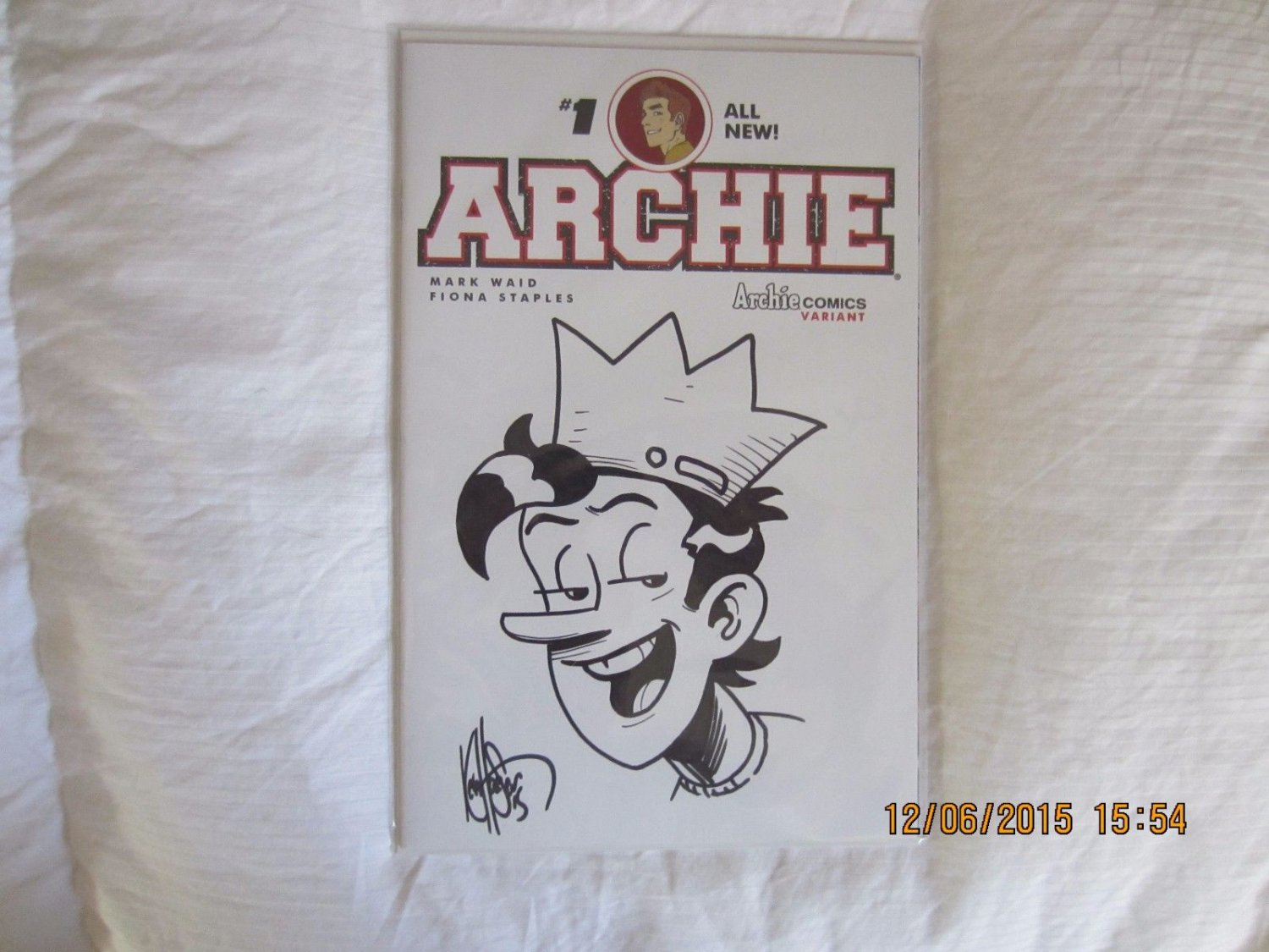 ARCHIE #1 RARE CONVENTION SKETCH COVER WITH JUGHEAD SKETCH KEN HAESER!!