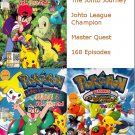 DVD ANIME POKEMON Season 3,4,5 Johto Journey Master Quest Johto League 168 Episodes