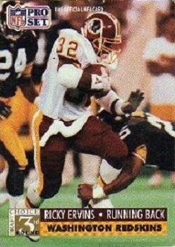 1991 Pro Set #805 Ricky Ervins Washington Redskins RC