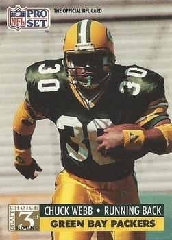 1991 Pro Set #810 Chuck Webb Green Bay Packers RC