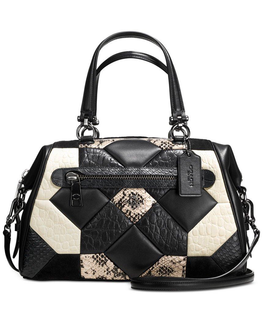 Coach Canyon Quilt Exotic Primrose Leather Satchel Carryall Shoulder Black/White 2 Looks 1 Bag 38295