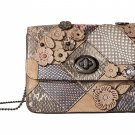 Coach Bowery Floral Patchwork Crossbody Shoulder Purse Bag Leather Brown Handbag Small 12071