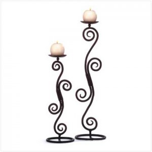 Scrollwork Tabletop Candle-Sticks - 32395 - Free shipping