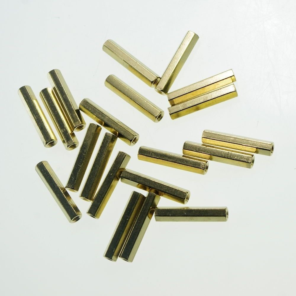 (20) M4�35mm Hexagonal Threaded Double Pass Brass Spacers Hexagon Copper Post
