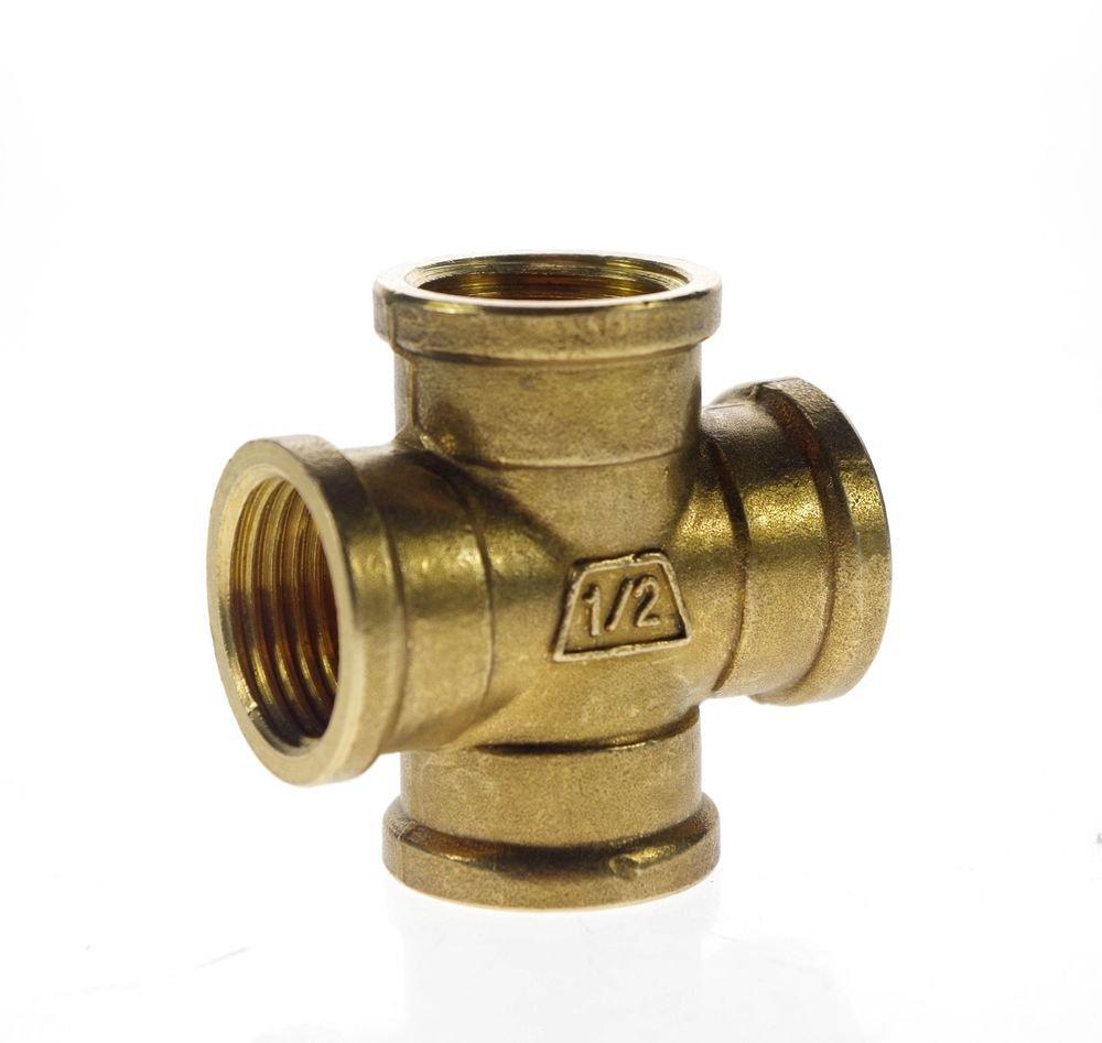 "1/2"" BSP 4 Way Female Cross Pipe Brass Adapter Coupler"