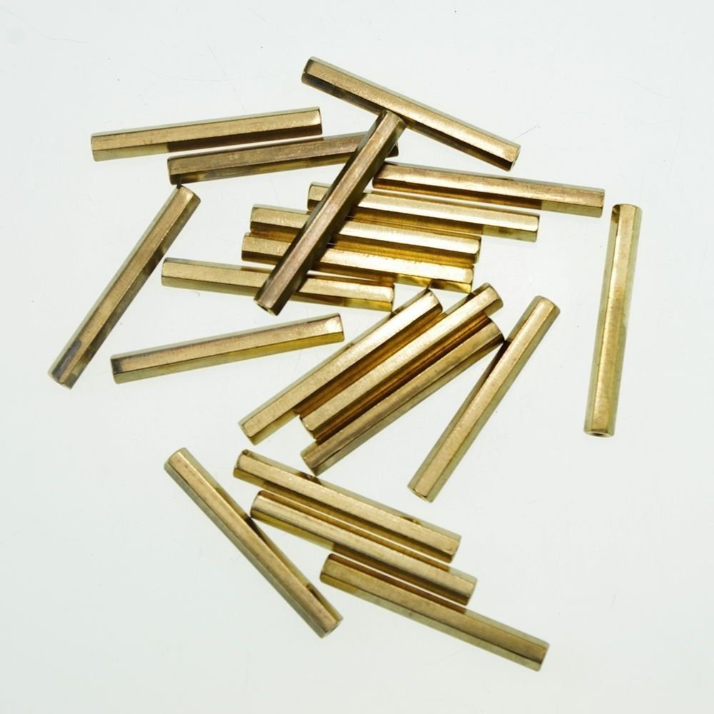 (20) M3�45mm Hexagonal Threaded Double Pass Brass Spacers Hexagon Copper Post