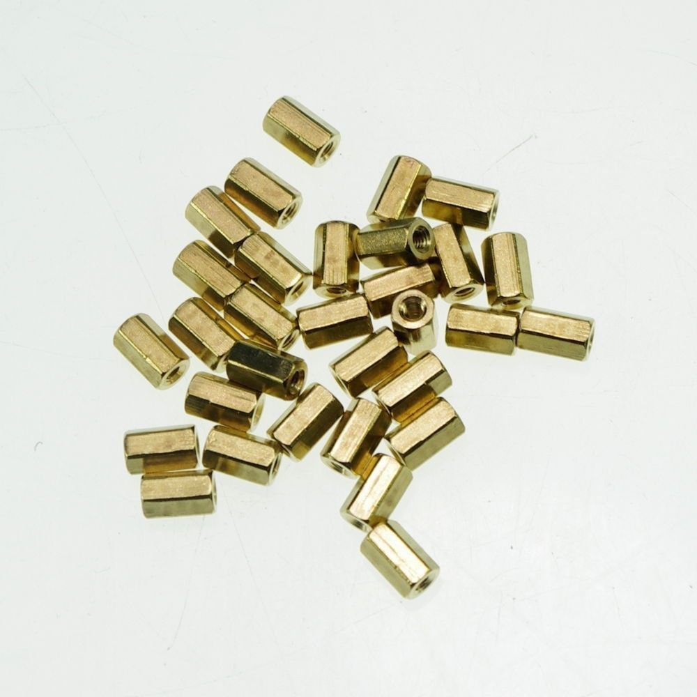 (20) M3�6mm Hexagonal Threaded Double Pass Brass Spacers Hexagon Copper Post