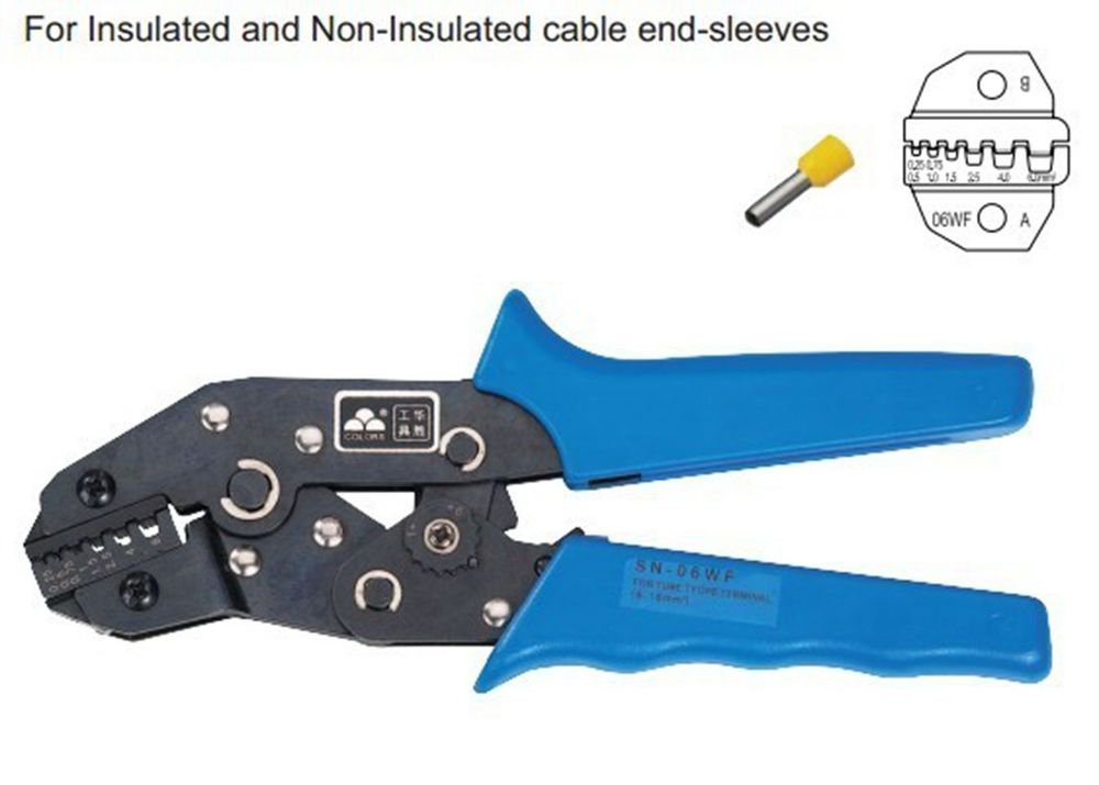 One Hand Insulated And Non-Insulated Ferrules Plier Crimper 0.25-6mm2 AWG 24-10