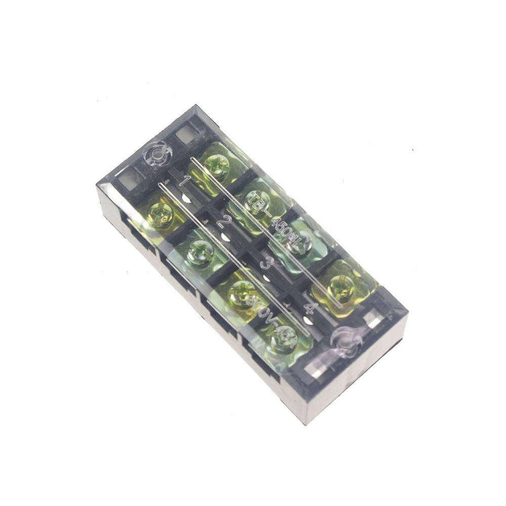 (1)4 Position/Poles 8 Holes Screw Terminal Blocks Covered Barrier Strip 600V 45A