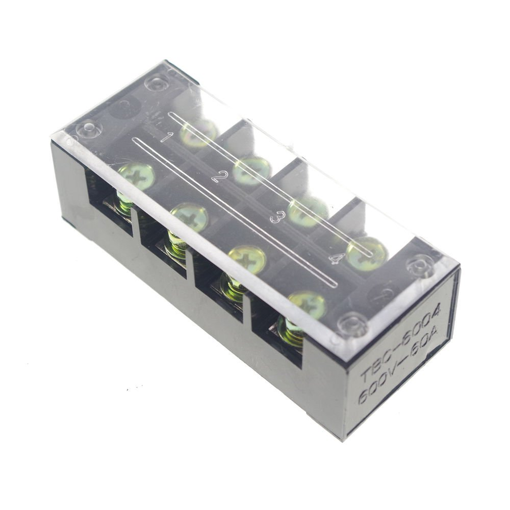 (1)4 Position/Poles 8 Holes Screw Terminal Blocks Covered Barrier Strip 600V 60A