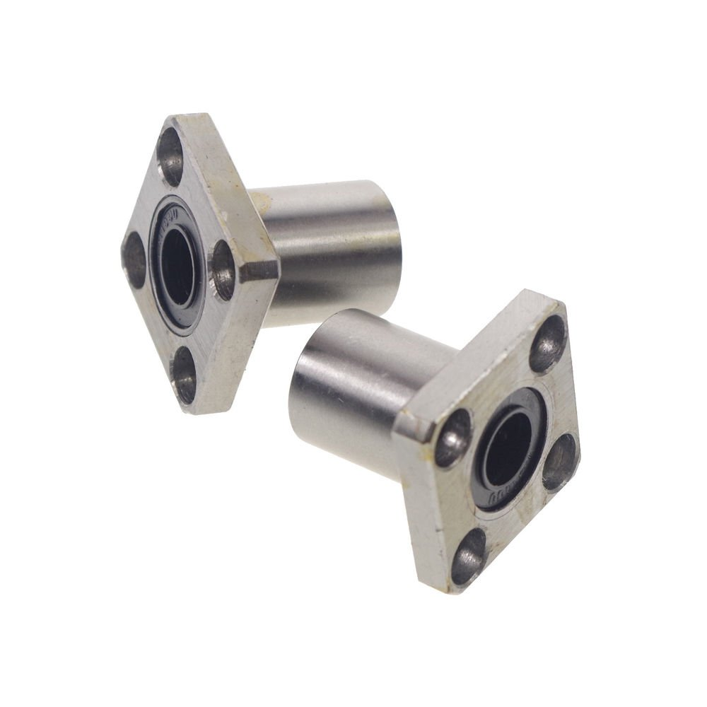 (2)LMK 12UU 12*21*30mm CNC Linear Motion Bushing Ball Bearing Square Flange Type