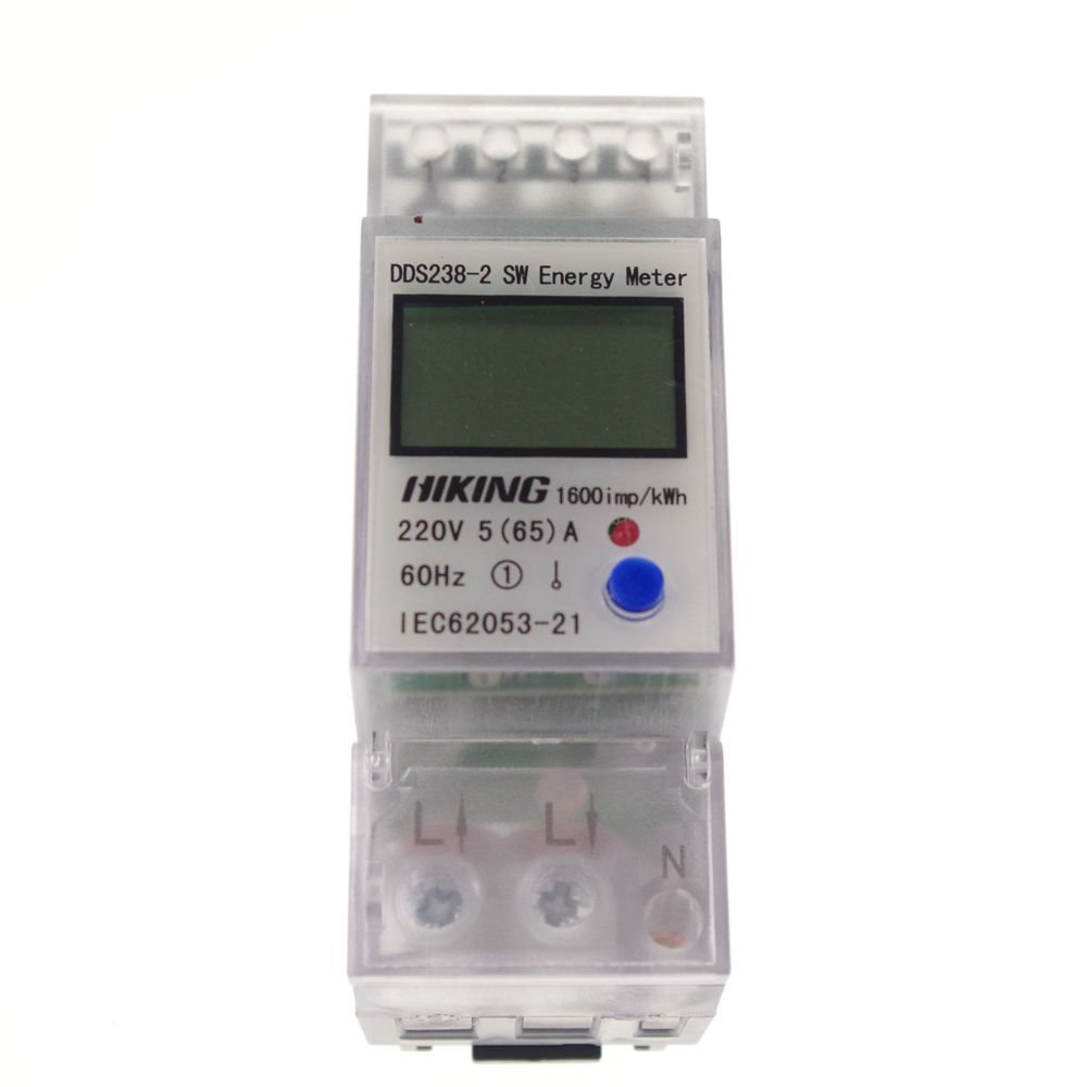 5-65A 220V 60Hz Single Phase Reset To Zero DIN-rail Kilowatt LED Hour kwh Meter