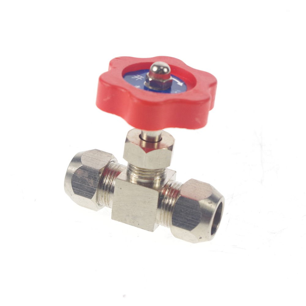 Tube OD 10mm Nickel-Plated Brass Swagelok Plug Needle Valve