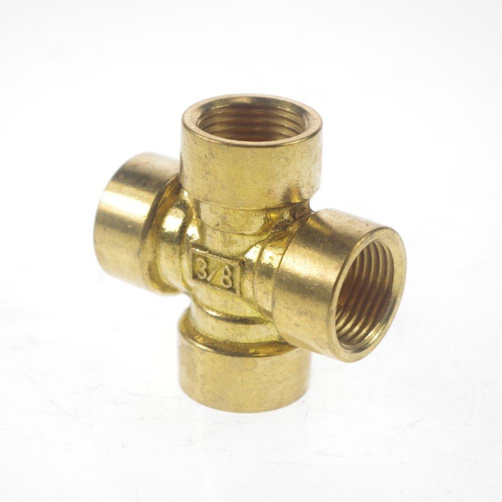 "3/8"" BSP 4 Way Female Cross Pipe Brass Adapter Coupler"