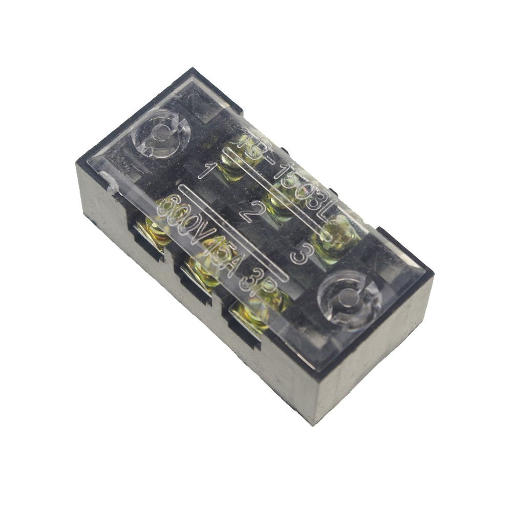 (5)3 Position/Poles 6 Holes Screw Terminal Blocks Covered Barrier Strip 600V 15A