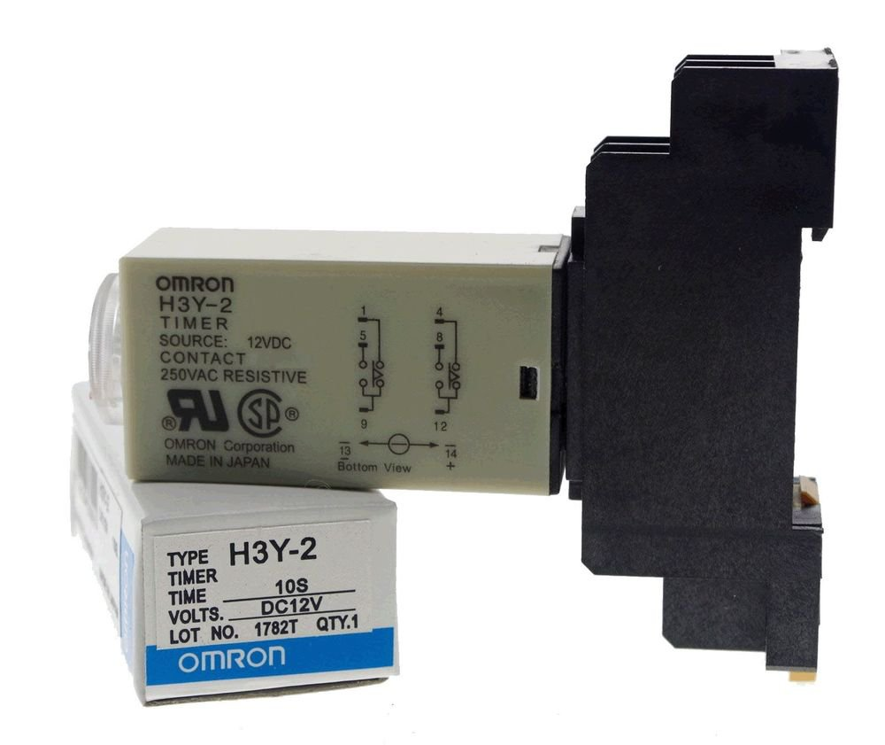 10s 12VDC H3Y-2 Power On 3A Time Delay Relay Solid-State DPDT With Socket Base