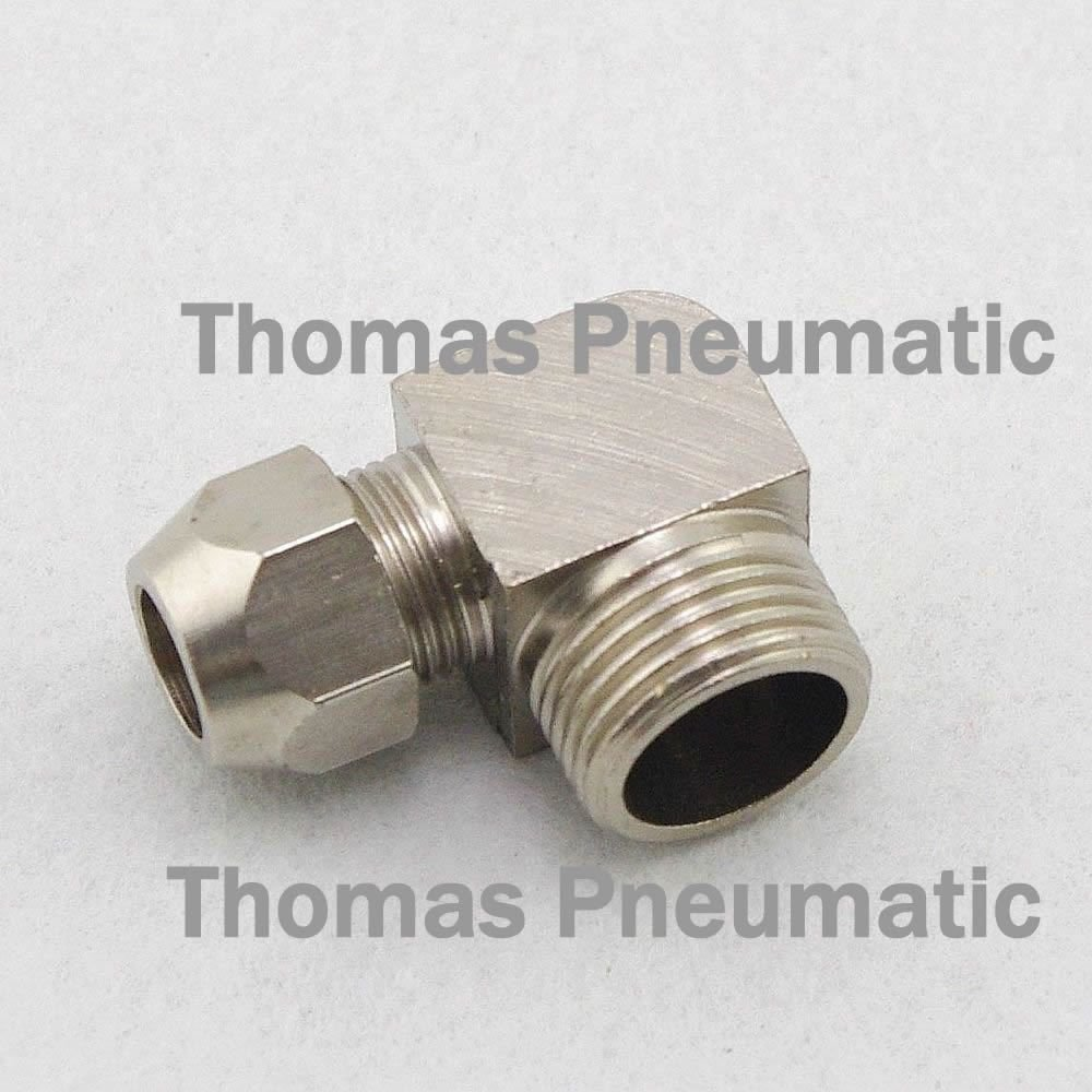 """Lot5 Nickel Plated Brass Swagelok 6mm-1/4"""" BSPT Pipe Elbow Connector Coupler"""