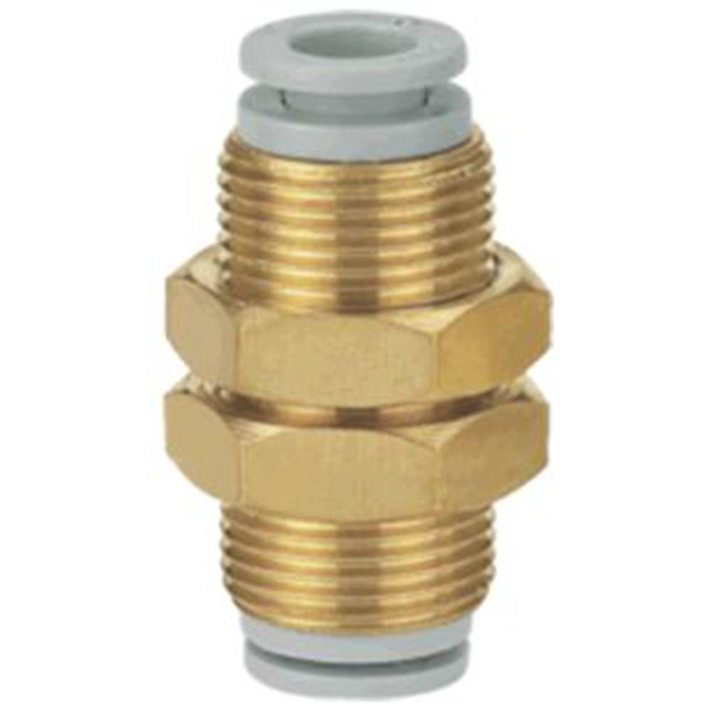 (5) One Touch Connectors Brass Bulkhead Union 6mm Tube Replace SMC KQ2E06-00