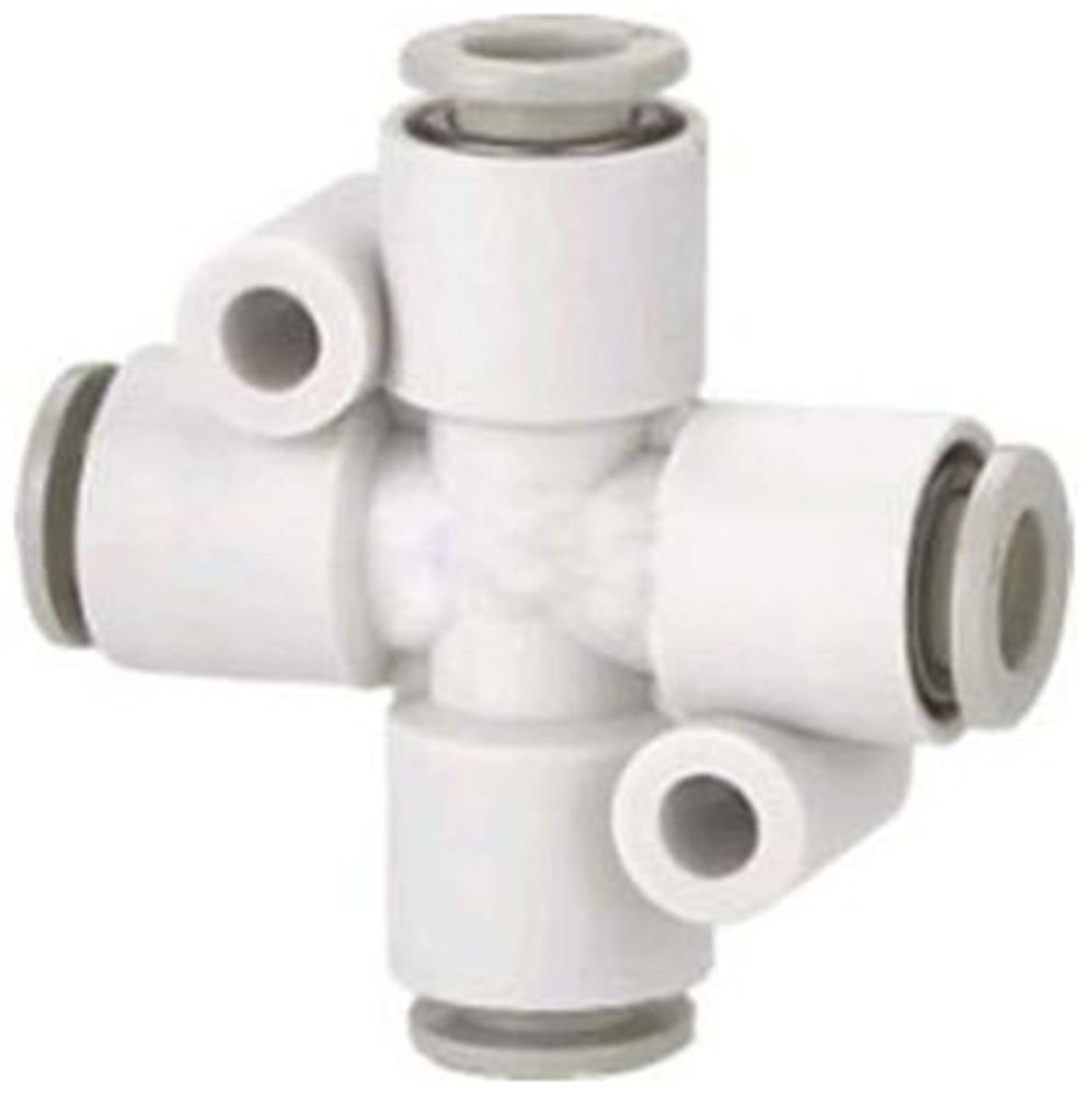 (5) Tube Fittings Push In Connector Cross Union 6mm Replace SMC KQ2TW06-00