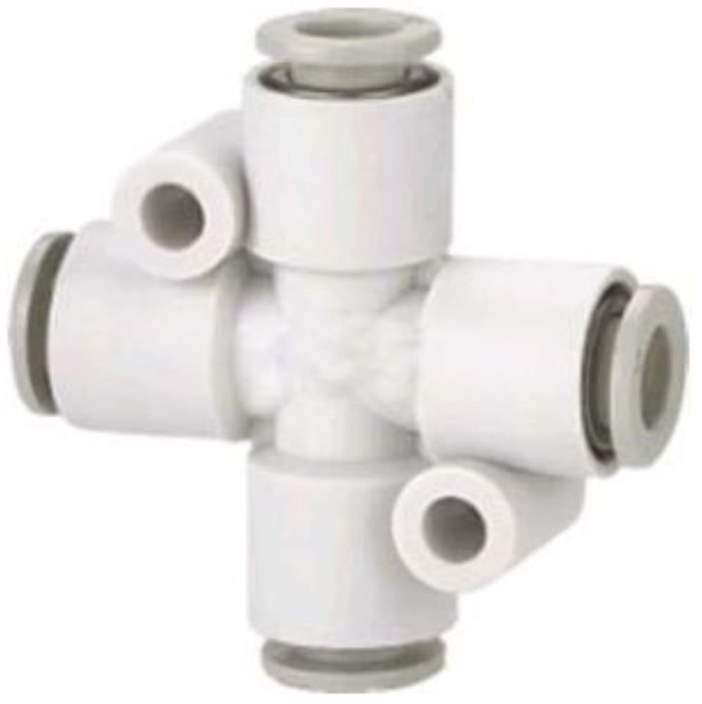(5) Tube Fittings Push In Connector Cross Union 8mm Replace SMC KQ2TW08-00
