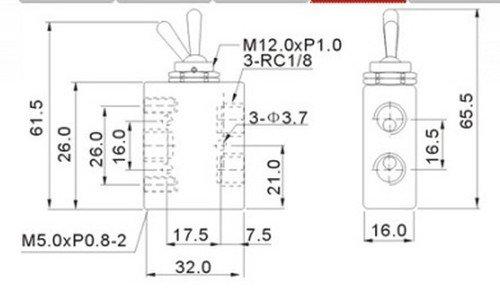 "(1)PCS 2 Postion 5 Port 1/8"" Thread Toggle Switch Pneumatic Mechanical Valve"