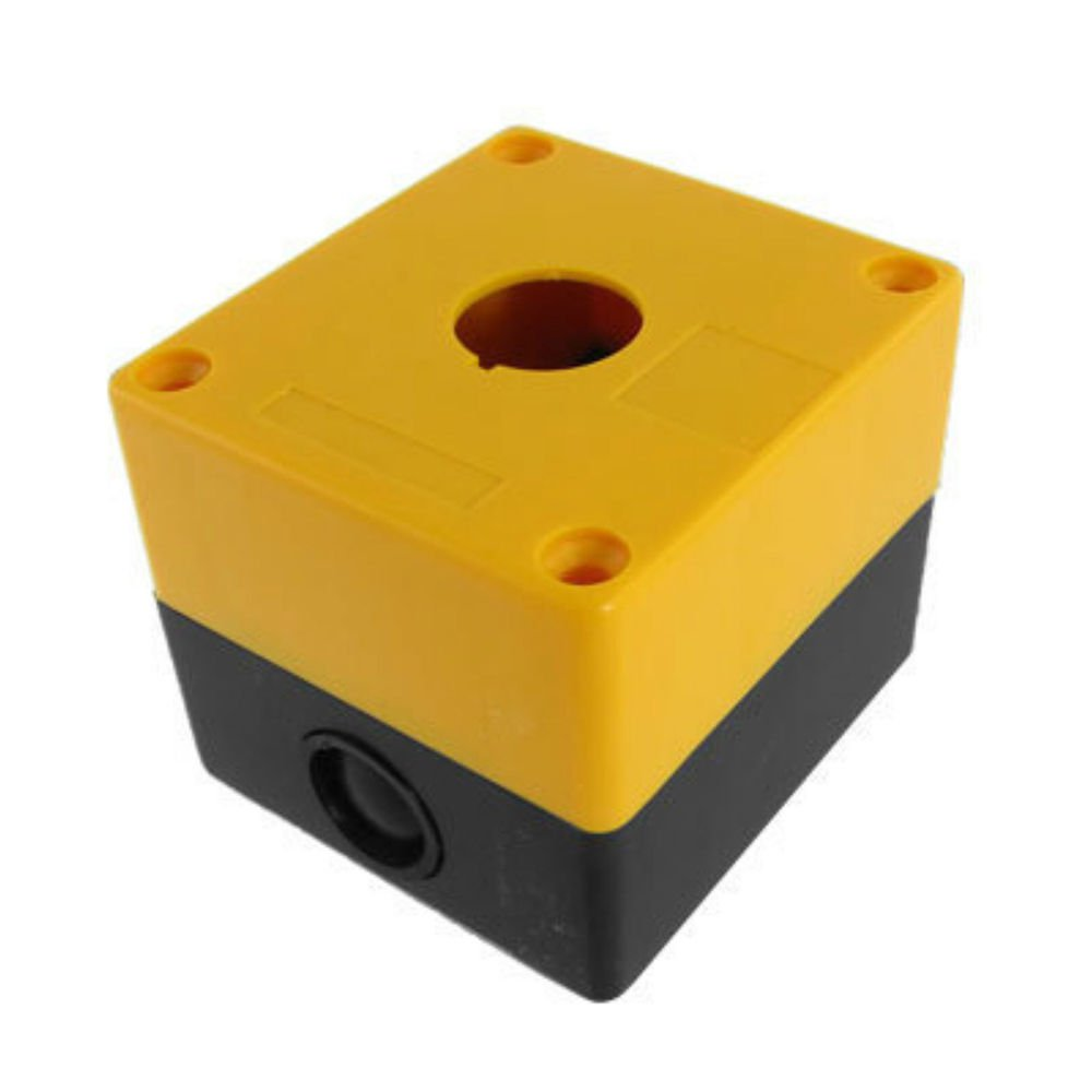 22mm Yellow Black  Push Button Switch Station Control Plastic Box  Case