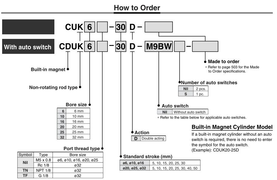 SMC Type CDUK32-30D Free Mount Cylinder Non Rotating Rod Type Double Acting
