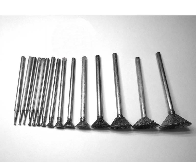 (20) 2.35mm Mandrel 80Q Grinding Head Concave Needle Diamond Grinder Needle