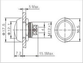5PCS 12mm OD zinc-aluminium alloy  momentary Push Button Switch /Screw Terminals