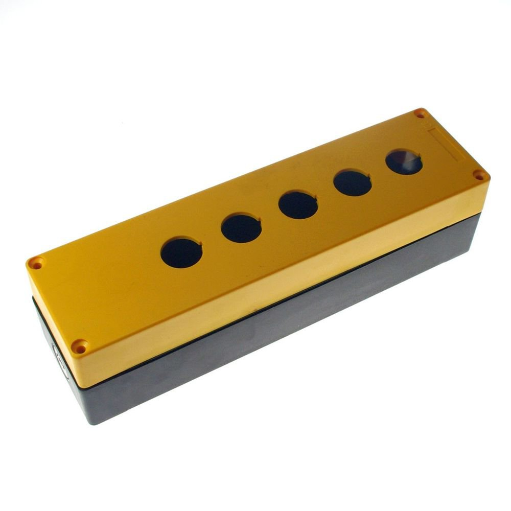 22mm 5 Hole Yellow Black Push Button Switch Station Control Plastic Box Case