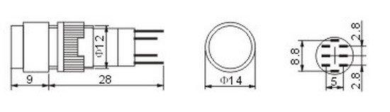 2PCS  Indicator pilot lamp momentary  pushbutton 2NO 2NC  DPDT 12mm