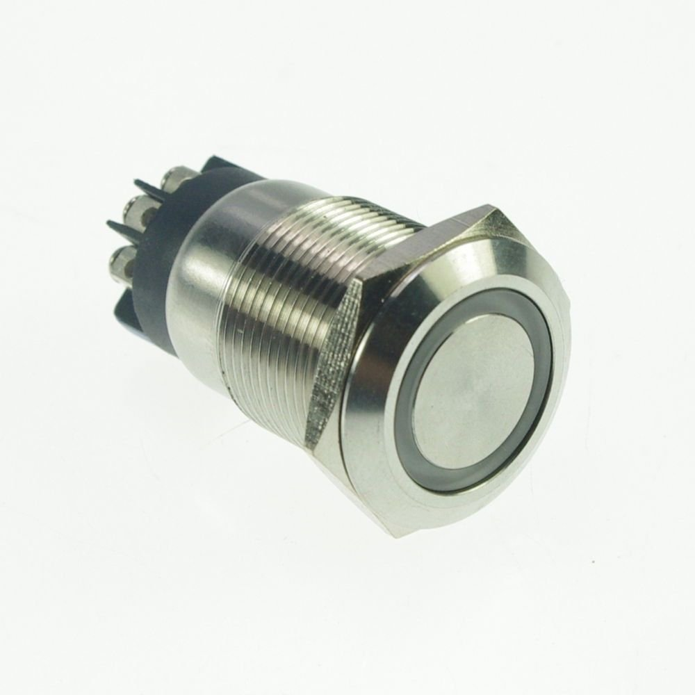 19mm Stainless Steel ring illuminated Latching Push Button Switch 1NO 1NC Screw